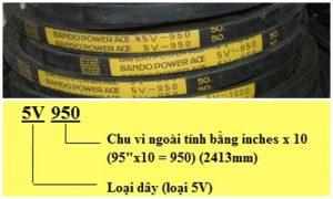 Dây curoa công nghiệp 5V950 - Bando